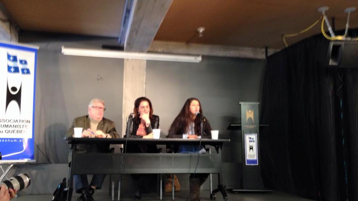 Patrick Kessel, président du Comité Laïcité République en France; Djemila Benhabib, écrivaine et journaliste, prix international de la laïcité en 2012; Zineb El Rhazoui, journaliste française du journal satirique Charlie Hebdo